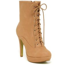 Top Guy Talia Lace-Up Bootie ($30) ❤ liked on Polyvore featuring shoes, boots, ankle booties, tan, lace up platform booties, platform booties, tan booties, lace up bootie and short lace up boots