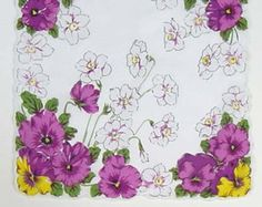 Vintage White Handkerchief Hanky with Purple Pansies and White Daffodils  (Inventory #M2363)
