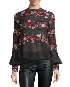 Zuhair Murad Lip-Appliqué Long-Sleeve Blouse, Black/Multi
