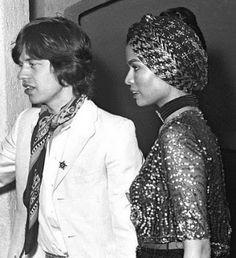 Bianca Jagger w/ wedding turban.