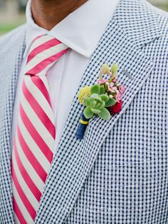Colorful Boutonnieres | Southern Wedding Inspiration