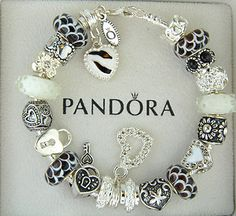 black and white pandora bracelets | Authentic-pandora-sterling-silver-bracelet-w-charm-black-white-heart ...