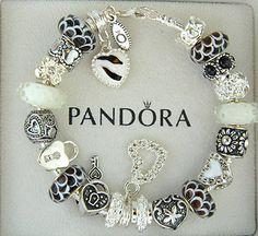 black and white pandora bracelets   Authentic-pandora-sterling-silver-bracelet-w-charm-black-white-heart ...