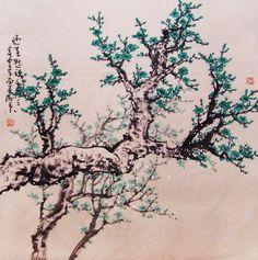 Original painting chinese art oriental art-Lovely cherry blossom tree No.49