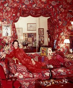 diana vreeland at homeDiana Vreeland (July 29, 1903, Paris, France – August 22, 1989, New York City) was a noted columnist and editor in the field of fashion. She worked for the fashion magazines Harper's Bazaar and Vogue and the Costume Institute of the Metropolitan Museum of Art. She was named to the International Best Dressed List Hall of Fame in 1965.[1]