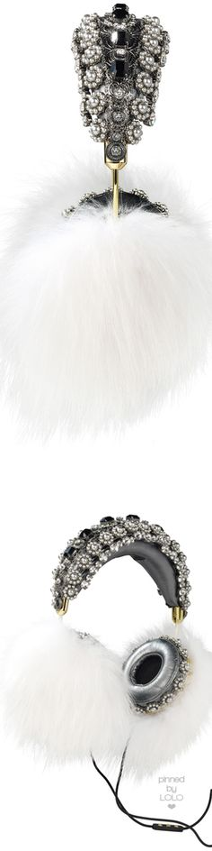 Dolce & Gabbana Embellished Leather Headphones with White Fox Fur | LOLO❤︎