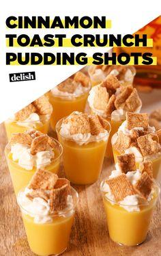Cinnamon Toast Crunch Pudding Shots Are A CTC Lover's DreamDelish 2 boxes vanilla pudding 1 c. Fireball whisky 1 c. Rumchata Whipped cream, for garnish Cinnamon toast crunch, for garnish Pudding Shot Recipes, Jello Pudding Shots, Jello Shot Recipes, Alcohol Drink Recipes, Jello Shots, Rumchata Pudding Shots, Salad Recipes, Pina Colada, Churros