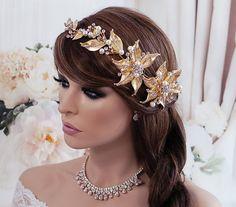 SALE Gold Vine Bride Headpiece Bridal Wedding by EleganceByKate