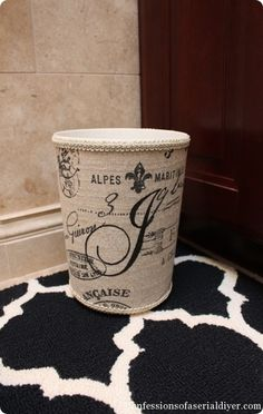 Fabric-Covered Garbage Can with Monogram Waste basket knock off Knock Off Decor, Garbage Can, Tonne, Vintage Stil, Ballard Designs, Fabric Covered, Home Crafts, Diy Crafts, Diy Furniture