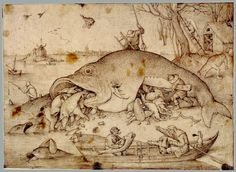 Big fish eat little fish Drawing by Pieter Bruegel the elder Vienna, Albertina - GAP The style of the drawing looks so much like the style of Hieronymus Bosch, that the copperplate engraver niticed on the lower left corner: Hieronymus Bos inventor Jan Van Eyck, Google Art Project, Renaissance Kunst, Renaissance Paintings, Little Fish, Big Fish, Pieter Brueghel El Viejo, Albertina Wien, Pieter Bruegel The Elder