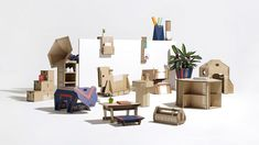 Innovative storage solutions, children's toys and a music amplifier are among the designs made from repurposed cardboard that have been shortlisted in Dezeen and Samsung's Out of the Box Competition. Cardboard Design, Cardboard Toys, Cardboard Furniture, Innovative Packaging, Horse Silhouette, Modular Storage, Cardboard Packaging, Kids Toys, Children's Toys