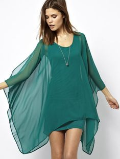 Green Split Batwing Long Sleeve Chiffon Dress