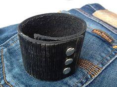 Men Rustic Black Leather Cuff. $25.00, via Etsy.