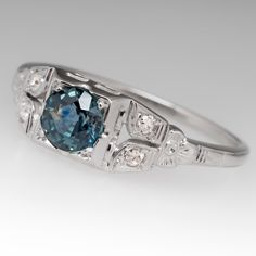 Montana sapphire engagement ring - Vintage 1940's 18k white gold mounting