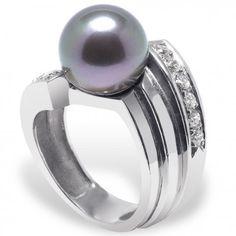 Aimati - bague perle de Tahiti 11-12 mm, diamant 0.36 carat