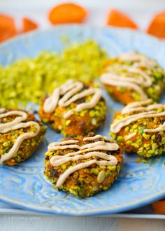 Smashed Sweet Potato Fritters, Pistachio-Pumpkin Seed Crusted