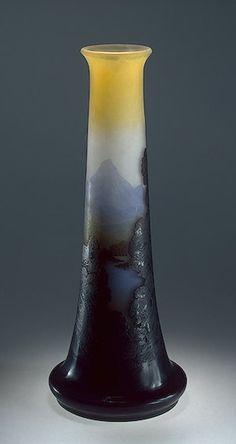 Émile Gallé | Vase with an Alpine Landscape Manufactory of Emile Galle France, Nancy. Between 1907 and 1914.