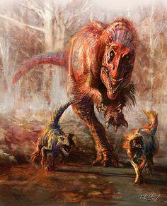 #Yutyrannus hunting #Psittacosaurus by ~cheungchungtat on deviantART