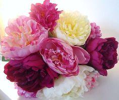 SUPERBE bouquet PIVOINE mélangé fleurs artificielles QUALITE LUXE en satin