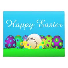 Shop Softball Easter Egg Row Doormat created by SportsArtZoo. Volleyball, Softball, Basketball, Baseball Pictures, Personalized Door Mats, Sport Quotes, Easter Party, Welcome Mats, Doormat