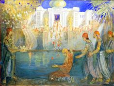 House of the World (Lehi's Dream of the Tree of Life) by Minerva Teichert. This is an amazing depiction of Lehi's dream. The great and spacious building is so dominant, just like it is in our lives. We have to look for the tree, actively seek it.