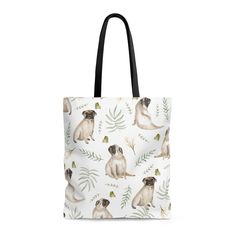 Our leafy pug design is a unique watercolor pattern featuring an adorable pug, butterflies and tropical leafs. This tote bag is perfect for shopping, the beach Pug Accessories, Watercolor Pattern, Pugs, Reusable Tote Bags, Shopping, Butterflies, Tropical, Unique, Beach