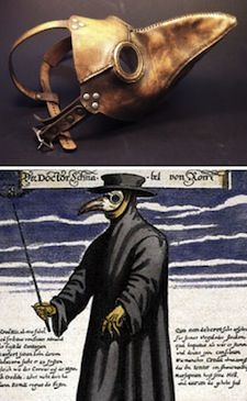 Very scary 17th century plague mask, with long beak to stuff with protective herbs.