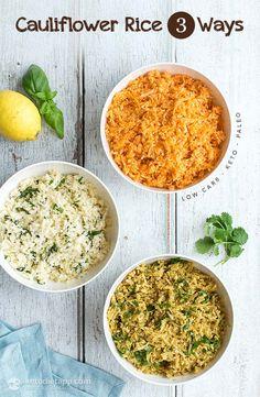 Low-Carb Cauliflower Rice 3 Ways