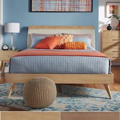 Simply crafted with elegant style, this mid-century modern bed boasts both practicality and flair. $291