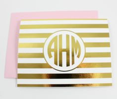 Foil Striped Monogram Note Cards | Gold or Silver | Shop Dandy LLC.. awesome gift