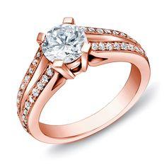 Auriya 14k Rose Gold 1 1/4 ct TDW Certified Round Diamond Ring (H-I, SI1-SI2) (Rose Gold-Size 4.5), Pink