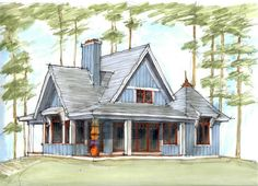 Eskuche Tomte Stuga Sketch :: Love this style Style At Home, Small Lake Houses, Haus Am See, Home Goods, House Plans, Waterfall, House Styles, Cottage Ideas, House Exteriors