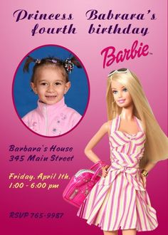 Barbie Invitations birthday invitations Printable Invitations diy Invitations Children custom Invitations