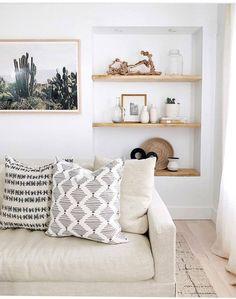 Minimalist White, Black, and Wood Living Room