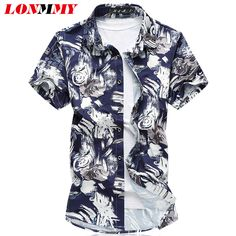 fbd11155 LONMMY PLUS SIZE 7XL Mens dress shirts Mercerized cotton camisa social Shirt  men Short sleeves Fashion