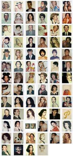 Polaroids, Andy Warhol. Would be so cool to take pics of everyone you meet & put them on a wall.
