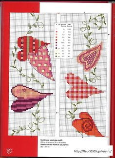 hearts cross stitch