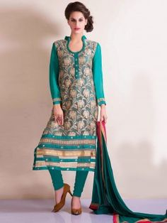 Sea Green Georgette Suit With Resham Embroidery Work
