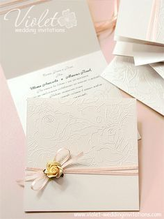 """Romance"" Wedding Invitation, Violet Handmade Wedding Invitations"