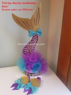 Mermaid Centerpiece 1 centerpiece per order **double sided 5 round base (diameter) 15 tall Custom Orders are Welcome! All sales are final. No refunds, No exch Mermaid Theme Birthday, Little Mermaid Birthday, Little Mermaid Parties, Girl Birthday, Birthday Centerpieces, Baby Shower Centerpieces, Birthday Party Decorations, Birthday Parties, Birthday Celebration