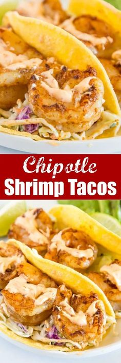 Chipotle Shrimp Tacos - An easy shrimp taco recipe with spiced shrimp a cool lime coleslaw and topped with creamy chipotle sauce. Packed with so much flavor and ready in minutes so it is perfect for a weeknight dinner. Baked Shrimp Recipes, Shrimp Recipes For Dinner, Easy Pasta Recipes, Seafood Recipes, Easy Dinner Recipes, Mexican Food Recipes, Vegetarian Recipes, Easy Meals, Dinner Ideas