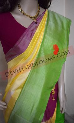 Uppada Multi Color Silk Saree with Blouse by UppadaPattu on Etsy