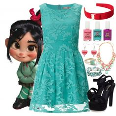 Vanellope - Formal - Disney Bound by rainbowbaconcupcake on Polyvore featuring Accessorize, Miss KG, Charming Life, Ippolita and Salvatore Ferragamo