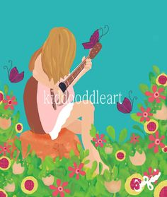 Fine Art print of original mixed media painting of Girl Playing Guitar in field of flowers Musical Garden children and teen rooms 8x10  5x7