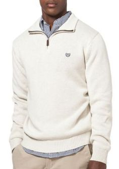 Chaps  Combed Cotton Mock Neck Pullover