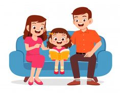 Happy cute little kid girl read book wit. Illustration Plate, Family Illustration, Girl Reading, Cartoon Kids, Cute Cartoon, Good Habits For Kids, Kids Going To School, Line Art Vector, Retro Cartoons