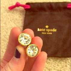 "Gorgeous Kate Spade stud earrings like new Beautiful Kate Spade large stud earrings, gold with clear ""diamond look"" stones, only worn once, original jewelry pouch included. kate spade Jewelry Earrings"