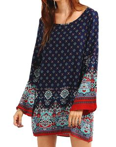 YUNY Womens Casual Ethnic style Long Sleeve Dresses