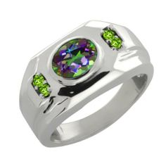 1.68 Ct Oval Green Mystic Topaz Peridot Sterling Silver Men's Ring Gem Stone King. $121.99. This Item Contains 100% Natural Stones. This item is proudly custom made in the USA