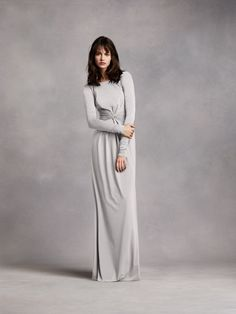 Choose long sleeves for your bridesmaids like this WHITE by Vera Wang Long Sleeve Jersey Dress with V Back available at David's Bridal
